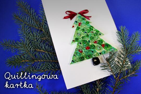Baner promujący zapisy na warsztaty tworzenia kartek świątecznych